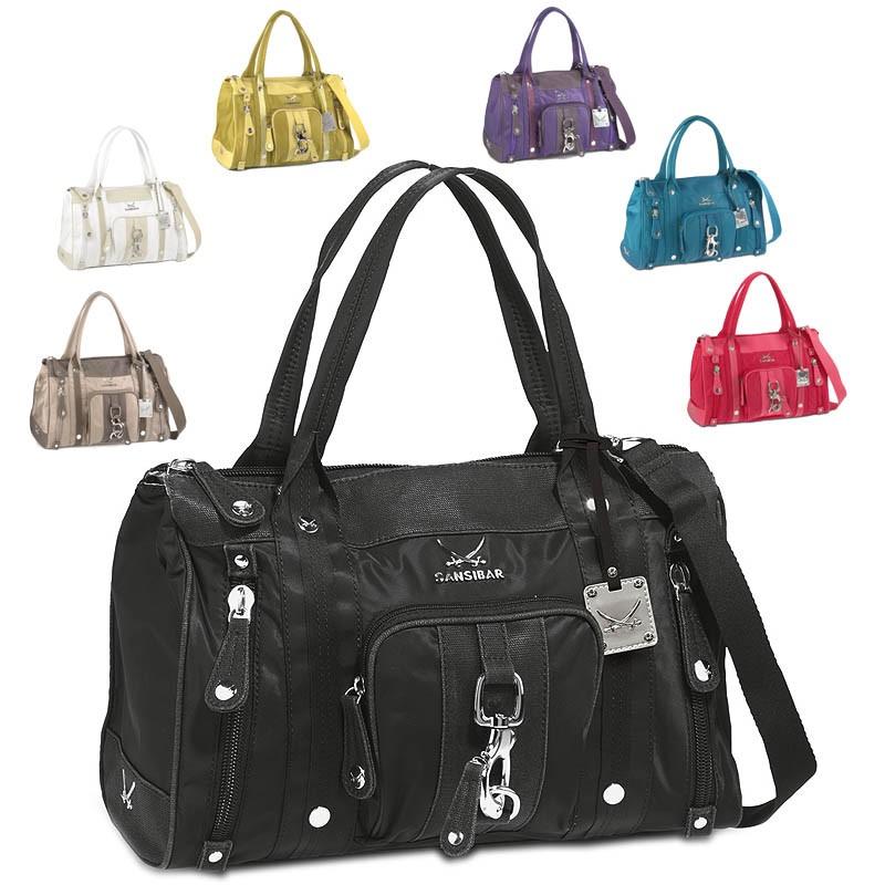 SANSIBAR Damen Trend Tasche Handtasche Typhoon Zip Bag Feinsynthetik B ...